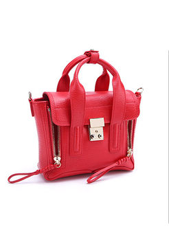 Stylish Genuine Leather Clasp Lock Top Handle & Crossbody Bag