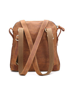 Vintage Brown Cowhide Backpack With Zipper Pocket