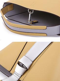 Casual Color-blocked Lock Barrel Bag