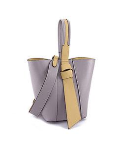 Color-Blocked Genuine Leather Lock Barrel Bag