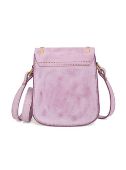 Casual Pink Magnetic Lock Cowhide Crossbody Bag