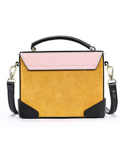 Stylish Color-block Managetic Crossbody Bag