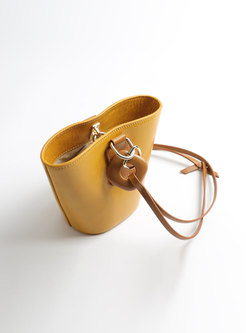 Chic Solid Color Genuine Leather Open-top Bucket Bag
