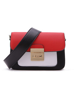 Trendy Wide Strap Color-blocked Square Crossbody Bag