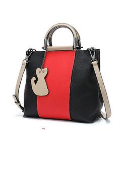 Stylish Color-block Top Handle & Crossbody Bag