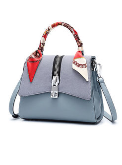 Chic Frosted Clasp Lock Zipper Top Handle & Crossbody Bag
