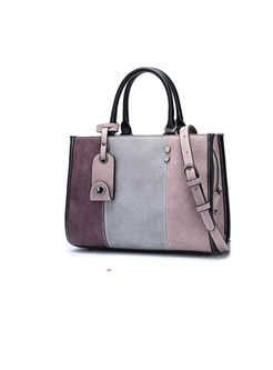 Color-block Frosted Zipper Top Handle & Crossbody Bag