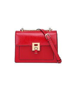 Chic Red Clasp Lock Chain Crossbody Bag
