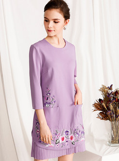 Three Quarters Sleeve Embroidered Pocket Waist Dress