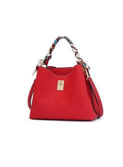 Casual Red Magnetic Top Handle & Crossbody Bag