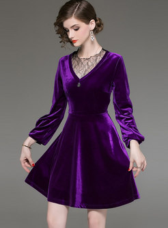 Purple Lace-paneled Mesh Perspective Big Hem Dress
