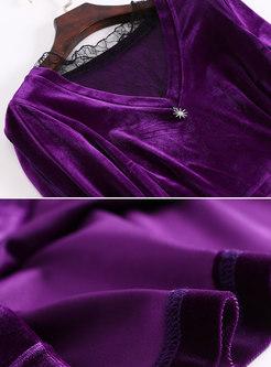 Purple Lace-paneled Mesh Perspective Big Hem Dress