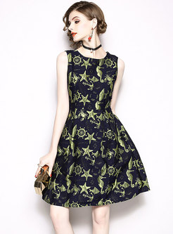 Brief Sleeveless Jacquard Gathered Waist Skater Dress