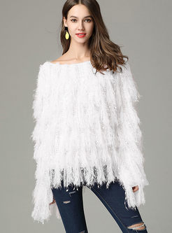 Chic White Slash Neck Tassel Knitted Sweater