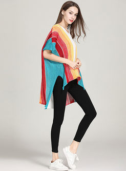 Loose Rainbow Striped V-neck Slit Asymmetric Knitted Top