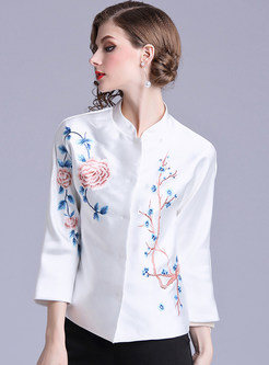 Mandarin Collar Single-breasted Embroidered Jacket