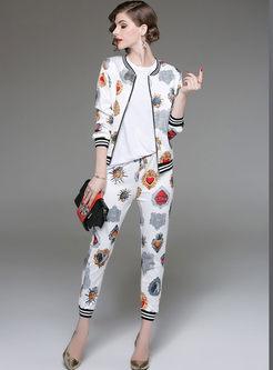 Chic Print Striped Splicing Zipper Coat & Elastic Waist Slim Pencil Pants