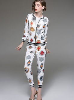 Crew Neck Long Sleeve Print Slim Pant Suits