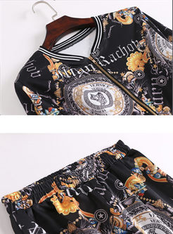 Stylish Print O-neck Splicing Coat & Print Slim Pencil Pants