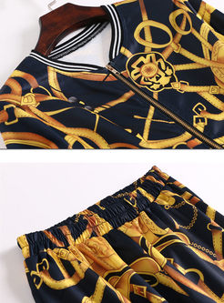 Elegant Print Zippered Short Coat & Elastic Waist Splicing Pencil Pants