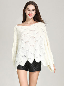 Off The Shoulder Bat Sleeve Asymmetric Loose Sweater