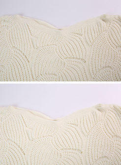 White Hollow Out Slash Neck Bat Sleeve Asymmetric Loose Sweater
