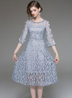 Pure Color Flare Sleeve High Waist Perspective Lace Dress