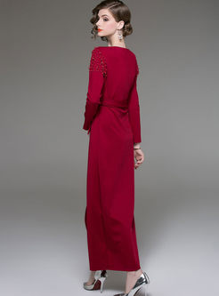 Trendy Red V-Neck Beaded Belted Slim Maxi Dress