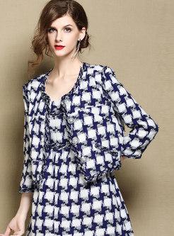 Long Sleeve Blue-white Blocked Grid Jacket