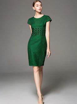 Stylish Pure Color Embroidered Gathered Waist Slim Dress