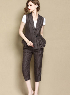 Fashion Deep Coffee Vest & striped Straight Mid-calf Pants