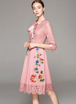 Chic Hollow Out Embroidered Tied-Collar High Waist Skater Dress