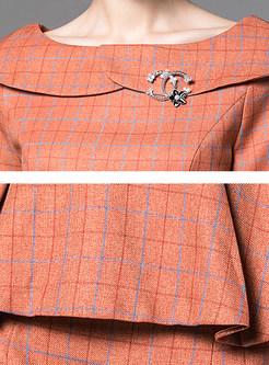 Fashion Slash Neck Flouncing Plaid Two Piece Outfits