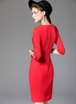 Elegant V-neck Half Sleeve Slit Sheath Dress
