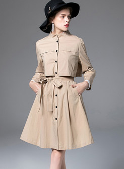 Pure Color Standing Collar Single-breasted Trendy Coat