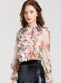 Stand Collar Long Sleeve Print Perspective Blouse