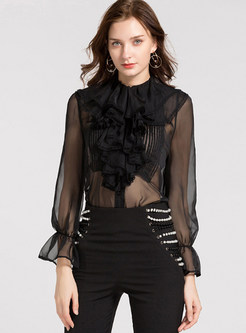 Sexy Black Perspective Flouncing Chiffon Blouse