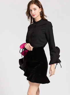 Stylish Flouncing Slim Long Sleeve Blouse