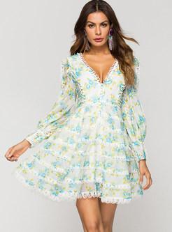 Floral V-neck Lantern Sleeve Cake Ball Gown Dress
