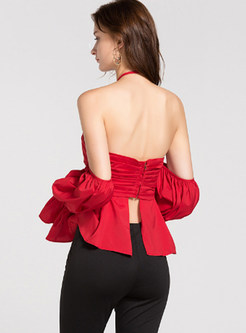 Sexy Solid Color Bowknot Backless Bandeau Top