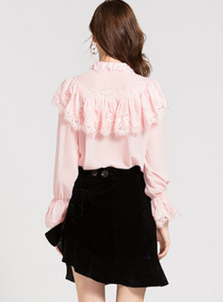 Stand Collar Long Sleeve Lace Flouncing Blouse