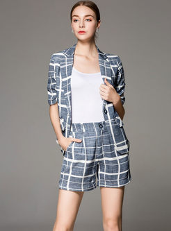 Chic Grid Half Sleeve Slim Blazer & Grid High Waist Slim Shorts