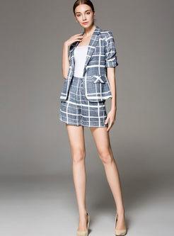 Chic Grid Half Sleeve Slim Blazer & Grid High Waist Slim Shorts