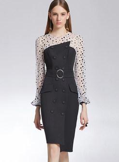 Chiffon Polka Dot Splicing Slim Asymmetric Dress