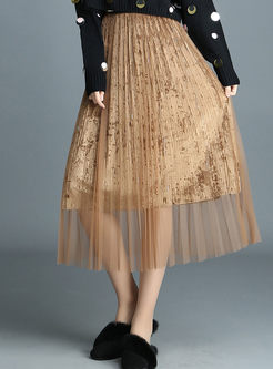 Chic Pure Color Elastic Waist Pleated Skirt