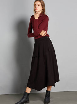 Pure Color High Waist Asymmetric Long Skirt