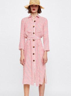 Brief OL Pink Pinstriped Gathered Waist T-Shirt Dress