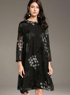 Fashion Black Print Plus Size Shift Silk Midi Dress