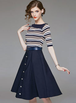 Striped Half Sleeve Knitted Top & High Waist Belted Single-breasted Skirt