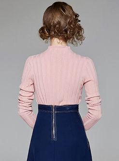 Pure Color High Neck Striped Slim Sweater